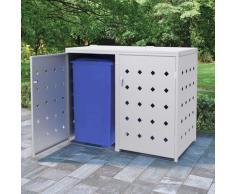 Hommoo Mülltonnenbox für 2 Tonnen 240 L Edelstahl VD35099