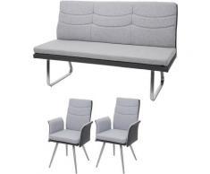 Set 2x Esszimmerstuhl+Sitzbank HHG-706, Bank Küchenstuhl mit Armlehne, Stoff/Kunstleder Edelstahl ~