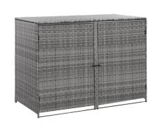 Hommoo Mülltonnenbox für 2 Tonnen Poly Rattan Anthrazit 148x77x111 cm VD45532