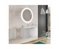 Badezimmer Badmöbel 100 cm Venere aus glänzend weiß Holz mit Keramik Waschtisch und Spiegel |