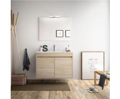 Badezimmer Badmöbel 80 cm aus braunem Holz Caledonia mit zwei Türen   mit spiegel und LED Lampe