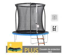 Outdoor-Trampolin Blau + Grün 250 + Garten-Fitnessleiter 244 cm - EU-Normen, Ultrasicher