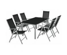 Aluminium Sitzgruppe 6+1 - Gartentisch, Gartenstuhl, Sitzbank - hellgrau