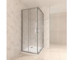 Duschkabine mit Schiebetüren Eckdusche mit Rollensystem aus ESG Glas 190cm Hoch 75x110
