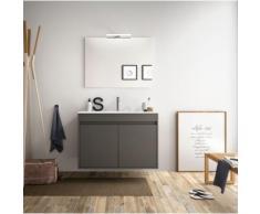 Badezimmer Badmöbel 80 cm aus mattgrauem Holz mit zwei Türen | mit Kolonne, Spiegel und LED Lampe