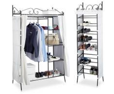 2 tlg. Garderoben Set COUNTRY, Kleiderschrank mit Stoffvorhang, Schuhregal, Stoffschrank,