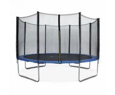 Rundes Trampolin Ø 400cm blau mit Schutznetz - Mercure - Gartentrampolin 400 cm 4m   PRO Qualität.