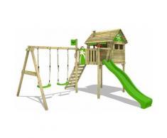 Spielturm Klettergerüst FunFactory mit Schaukel & apfelgrüner Rutsche, Stelzenhaus mit Leiter &