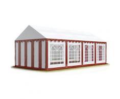 TOOLPORT Party-Zelt Festzelt 4x8 m Garten-Pavillon -Zelt ca. 500g/m² PVC Plane in rot-weiß