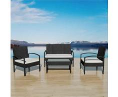 4-tlg. Garten-Lounge-Set mit Auflagen Poly Rattan Schwarz - Youthup