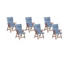 Beliani - Gartenstuhl mit Auflagen 12-teilig Blau Polsterbezug Dunkelbraun Akazienholz verstellbar
