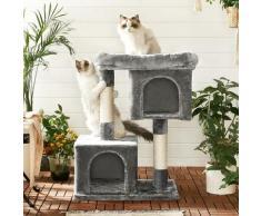 FEANDREA Kratzbaum mit Großer 84cm Plattform und 2 Plüschhöhlen Spielhaus, Kletterbaum für Katzen