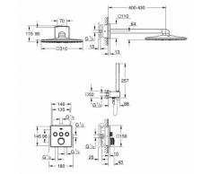 GROHE UP-Duschsys. GrohthermSmartControleckige Form 34706 mit THM/KB/HB chrom