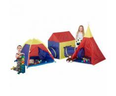 Relaxdays Kinder Zeltstadt, 5-tlg. XXL-Set, Indoor, Garten, Tipi Spielzelt Krabbeltunnel HxBxT, 145