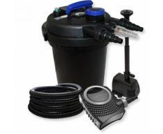 Druckfilter Set aus 10000l Filter, UV Klärer mit 11W, 70W Pumpe, Schlauch und Springbrunnenpumpe