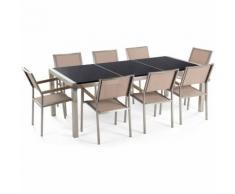 Gartenmöbel Set Naturstein schwarz poliert 220 x 100 cm 8-Sitzer Stühle Textilbespannung beige
