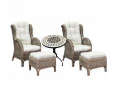 2 Stück Rattan Ohrensessel mit Fußhocker und Mosaiktisch-2xMRS01+MMC4342-Tisch