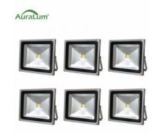 6×50W LED Außenstrahler Fluter Flutlichtstrahler, 6000K Kaltweiß 4500 Lumen 230V IP65 Wasserdicht,
