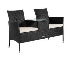 Poly Rattan Kino Bank 2 Sitzer mit Tisch und Auflage schwarz & creme anthrazit