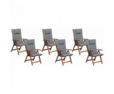 Beliani - Gartenstuhl mit Auflagen 12-teilig Graphitgrau Polsterbezug Dunkelbraun Akazienholz
