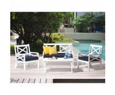 Gartenmöbel Set Weiß Blau Akazienholz inkl. Sitzkissen 4-Sitzer Terrasse Outdoor Mediterran Stil