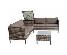 Polyrattan Sitzgruppe Gartenmöbel Set inkl. Auflagenbox Gartenset Beige-Braun