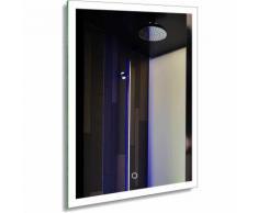Badspiegel LED Spiegelleuchte 80x60CM Weiß 20W IP44 Wand Spiegel mit Beleuchtung 6000K (Typ3, 60 *