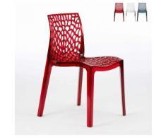 16 Stühle Küchenstuhl Esstischstuhl Esszimmerstuhl Gruvyer   Transparent Rot - Grand Soleil