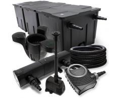 FilterSet: Bio Teichfilter bis 90000l, UV Klärer mit 18W, 80W Pumpe, Skimmer und Springbrunnenpumpe