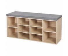 Schuhbank Schuhschrank mit Sitzkissen aus Holzspanplatte Flur Diele Schuhregal Bank 104 x 48 x 30cm