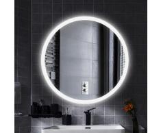 LED Anti-Fog Rund Badspiegel Wandspiegel Mattierter Gürtel kühles Weiß 80x80cm