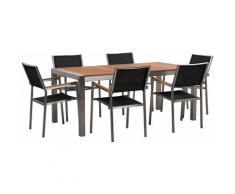 Gartenmöbel Set Eukalyptusholz Edelstahl Tisch 180 cm 6 Stühle Schwarz Terrasse Outdoor Modern