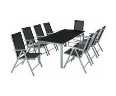 Aluminium Sitzgruppe 8+1 - Gartentisch, Gartenstuhl, Sitzbank - hellgrau