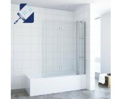 ® Badewannenaufsatz Duschabtrennung Duschtrennwand für Badewanne Faltbar Badewannenfaltwand