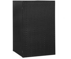 Mülltonnenbox für 1 Tonne Schwarz 76x78x120 cm Poly Rattan - Youthup