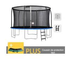 Outdoor-Trampolin Blau + Grün 430 + Garten-Fitnessleiter 427 cm - EU-Normen, Ultrasicher