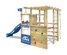 Klettergerüst Spielturm Smart Champ mit blauer Rutsche, Gartenspielgerät mit Kletterwand &