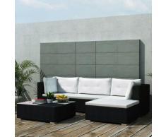5-Tlg. Garten-Lounge-Set Mit Auflagen Poly Rattan Schwarz
