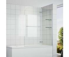 Badewannenaufsatz 2-teilig für Badewanne ESG Glas Duschwand Duschabtrennung - Sonni
