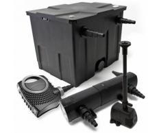 Filter Set aus Bio Teichfilter 12000l, UVC Teichklärer mit 18W, 80W Pumpe und Springbrunnenpumpe