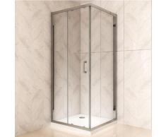 Duschkabine mit Schiebetür Eckdusche mit Rollensystem aus ESG Glas 190cm Hoch 90x120 cm (Tür:120cm)