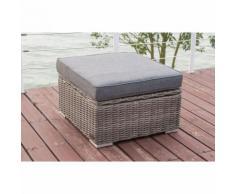 OUTFLEXX Hocker, grau, Polyrattan, 70 x 70 x 35 cm, verstellbare Sitzfläche, wasserfeste Kissenbox