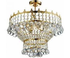 03-searchlight - Deckenleuchte 5 Glühbirnen Versailles, in Gold und Kristall