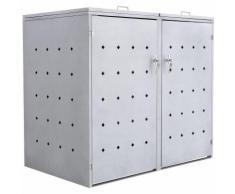 """Mülltonnenbox """"Rhombus Cement"""" mit Klappdeckel für 2 Tonnen"""