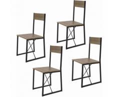 SoBuy FST67x4 4-er Set Esszimmerstuhl mit Rücken-Lehne Holzstuhl Balkonstuhl im Industrial-Look