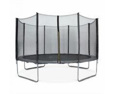 Rundes graues Trampolin Ø 400cm mit Schutznetz - Mercure - Gartentrampolin 400 cm 4m   PRO