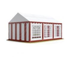 TOOLPORT Party-Zelt Festzelt 4x6 m Garten-Pavillon -Zelt ca. 500g/m² PVC Plane in rot-weiß