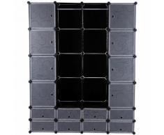 Kleiderschrank Garderobenschrank Steckregalsystem mit Schuhregal/2 Kleiderstange Kapazität 960L