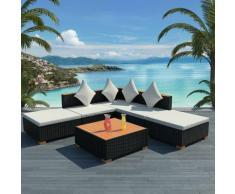 6-tlg. Garten-Lounge-Set mit Auflagen Poly Rattan Schwarz - Youthup
