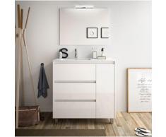 Badezimmer Badmöbel auf dem boden 85 cm aus glänzend weiß lackiertem Holz mit porzellan Waschtisch